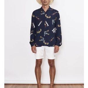 NWT IWS Pharaoh Love navy print button up shirt M